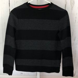 Boys Old Navy Black and Gray Striped Sweater